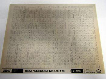Seat Ibiza Cordoba 1993-96 Ersatzteilkatalog Ersatzteilliste Microfich 1996