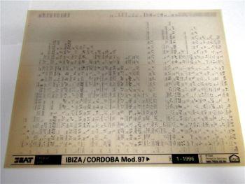 Seat Ibiza Cordoba ab 1997 Ersatzteilkatalog Ersatzteilliste Microfich 1996