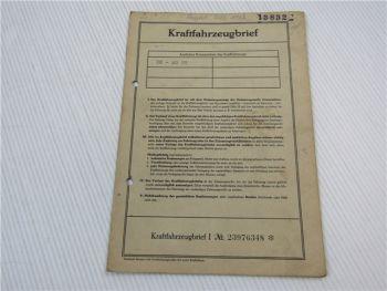 Kraftfahrzeugbrief Peugeot 403 B5 Kombi Zulassung 1962