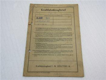Kraftfahrzeugbrief VW Typ 1 Käfer Typ11 Zulassung 1960 Personenwagen Volkswagen