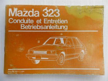 Mazda 323 Betriebsanleitung Conduite et Entretien 1980