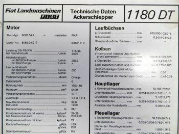 Fiat 1180 DT Ackerschlepper Landmaschinen Technische Daten 1980