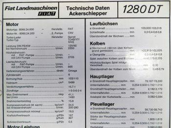 Fiat 1280 DT Ackerschlepper Landmaschinen Technische Daten 1982