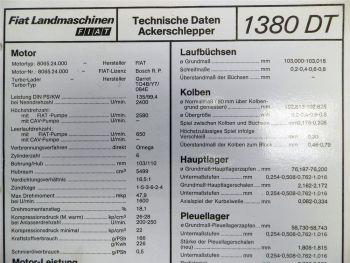 Fiat 1380 DT Ackerschlepper Landmaschinen Technische Daten 1980