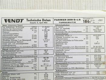 Fendt Farmer 309 S - LS Turbomatik 186 Technische Daten 1982