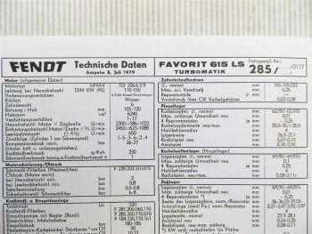 Fendt Favorit 615 LS Turbomatik FLA 285 Technische Daten 1979