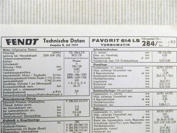 Fendt Favorit 614 LS Turbomatik FW 284 Technische Daten 1979