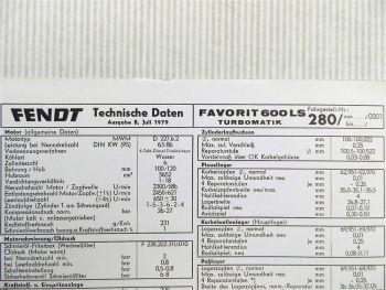 Fendt Favorit 600 LS Turbomatik FLA 280 Technische Daten 1979