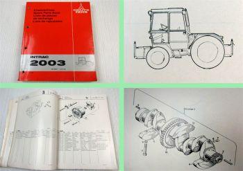 Deutz Intrac 2003 Traktor Ersatzteilliste Spare Parts Book 1979 Original
