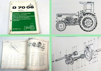 Deutz D 7006 Traktor Ersatzteilliste 1975 Original Ersatzteilkatalog