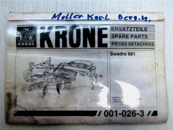 Krone Swadro 681 Ersatzteiliste Spare Parts 1999