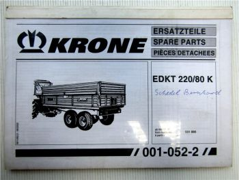 Krone EDKT 220/80 K Ersatzteiliste Spare Parts 2002