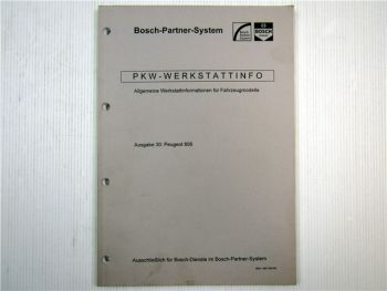 Peugeot 806 Bosch Dienst Elektrische Anlage Einstellwerte 1996