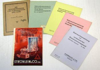6 Hefte zu Stahl- und Eisenuntersuchung Venturimessung Gasanalyse  1930er Jahre