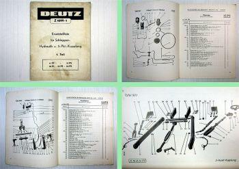 Deutz 11 bis 24 PS Schlepper Ersatzteilliste Hydraulik + 3 Punkt Kupplung 1956