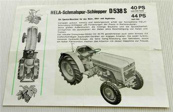 Hela Lanz D538S 40 44 PS Schmalspur-Schlepper Prospekt