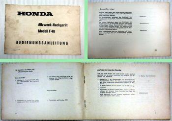 Honda F40 Allzweck Hackgerät Bedienungsanleitung 1968