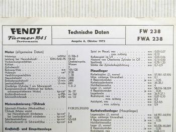 Fendt Farmer 104 S Turbomatik FW 238  FWA 238 Technische Daten 1972