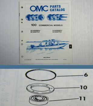 OMC Evinrude Johnson 100 com  ENGINE Parts Book 1988 Ersatzteilliste