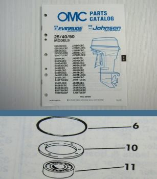 OMC Envinrude Johnson 25 40 50 ENGINE Parts Book 1989 Ersatzteilliste