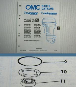OMC Evinrude Johnson 20 25 30 ROPE AC Parts Book 1989 Ersatzteilliste