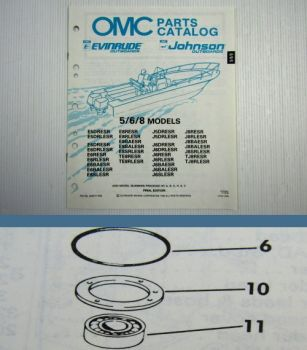 OMC Evinrude Johnson 5 6 8 HP Engines Parts Book 1990 Ersatzteilliste