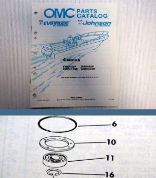 OMC Evinrude Johnson 4 Engines Parts Book 1990 Ersatzteilliste