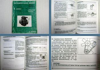 Mitsubishi L2A L2C L2E L3A L3C Motor Betriebsanleitung 1986 Operation Manual