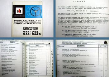 IHC 644 744 844 844S Schlepper Richtzeitenliste 1977 Arbeitszeitwerte