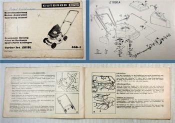 Gutbrod Turbo-Jet 135BL Rasenmäher Bedienungsanleitung Ersatzteilliste 1973