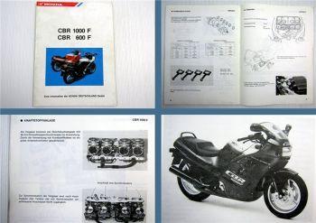 Honda CBR 1000 F CBR 600 F Motorrad Schulungsunterlage Kundendienst 1987