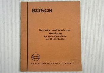 Bosch Hydraulikanlagen Betriebsanleitung Bedienungsanleitung und Wartung  1956