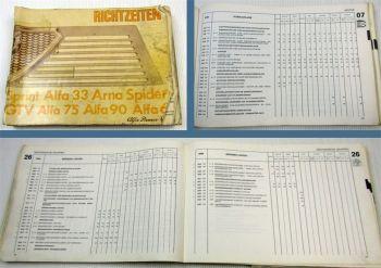 Werkstatthandbuch Alfa Romeo Sprint 33 Arna Spider GTV 75 90 6 Richtzeiten