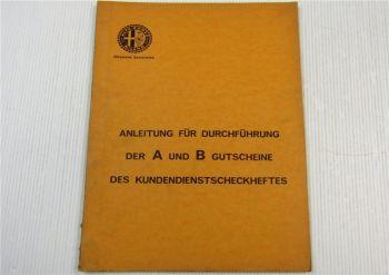 Alfa Romeo Anleitung für A B Gutscheine Kilometerabschnitte Checkheftes 1971
