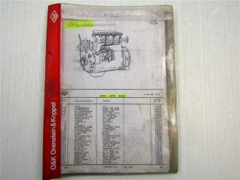 O&K RH6 Vario Motor MWM 226-6 B Ersatzteilliste Ersatzteilkatalog