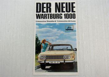 Prospekt Der neue Wartburg 1000 Limousine Standard Limousine de Luxe 1966