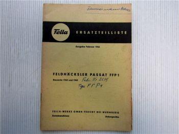 Fella FFP 1 Passat Feldhäcksler Ersatzteilliste 1963
