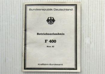 ABE F400 Farmont Glasdach für Porsche 924 928 944 Betriebserlaubnis 11/1987