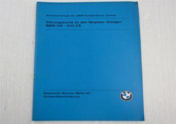 BMW 316 - 630CS Störungssuche an Vergaseranlagen Service Training Schulung 1979