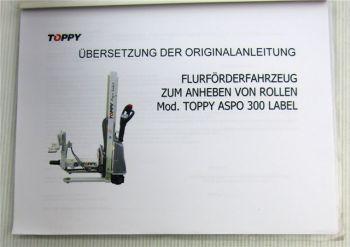 Toppy Aspo 300 Label Gabelstapler Betriebsanleitung Bedienungsanleitung Wartung