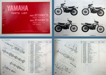 Yamaha DT250MX 3A6 DT400MX 3A7 Ersatzteilkatalog Parts list Ersatzteilliste 1979