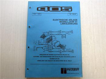 Peugeot 405 elektrische Schaltpläne 1991 Linkslenkung