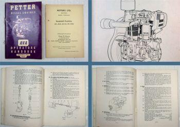 Petter Diesel Engine Type AVA Operators Handbook Service Manual + Parts List