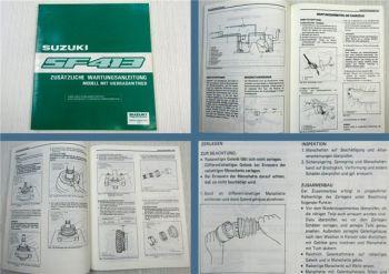 Suzuki SF413 4WD Allrad Werkstatthandbuch Reparatur Zusatz Wartung 1989
