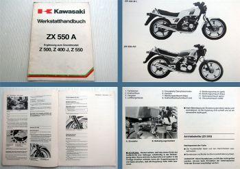 Kawasaki ZX550A ZR400B Werkstatthandbuch Ergänzung 1984er Modell
