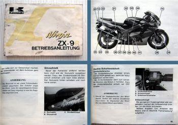 Kawasaki Ninja ZX-9R 900 ccm Motorrad Betriebsanleitung Bedienungsanleitung 1993