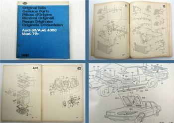 Audi 80 B2 Audi 4000 Mod 79 Ersatzteilliste Bildkatalog Parts List 1981