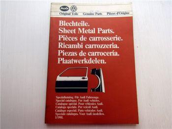 Audi 80 Audi Coupe 100 Avant 200 Blechteile Ersatzteilkatalog Bildkatalog 1981