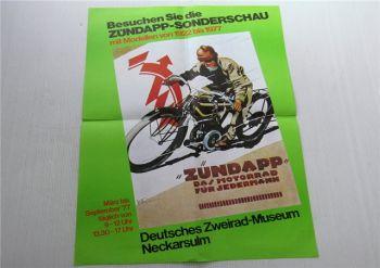 Zündapp Sonderschau Modelle 1922 - 1977 Zweirad Museum Plakat Poster 1977