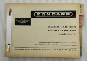 Zündapp Ersatzteil-Preisliste für Motoren und Fahrzeuge Januar 1961